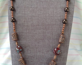 Teal and Copper Necklace