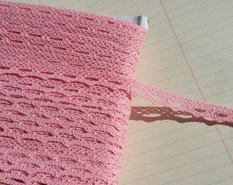 "Pink Cluny Lace - Narrow Medium Pink Cluny Crochet Torchon Trim - 1/2"" Wide"
