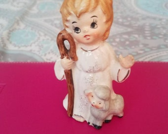 Religious Child  eith Lamb Figurine