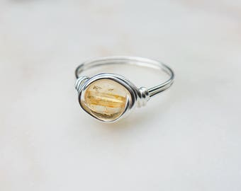 Citrine Ring, Yellow crystal ring, Wire wrapped, Sterling silver, Yellow gemstone, Natural stone, November Birthstone, Gift