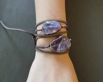 Raw Rough Amethyst Crystal Gold Dipped Drusy Slice Wrap Tie Bracelet