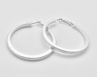 Squared Silver Hoop Earrings // Brushed Finish // Tarnish Resistant // Steel Ear Wires // Ask About Wholesale