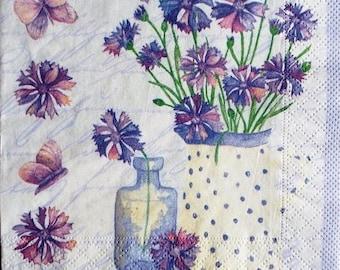 TOWEL in paper Bouquet of flowers purple #F039