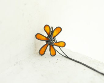Ready to Ship, Orange Flower Pendant Necklace Sterling Silver, 4th 1st Anniversary Gift Paper Jewelry, Best Friend Long Distance Petite Cute