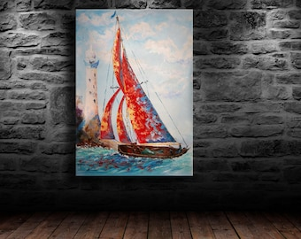 "oil painting, modern art, ""Red sails yacht"", canvas art, paintings on canvas, wall art, abstract painting, canvas art, canvas painting"