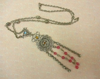 Vintage Tassel Necklace, Lucite Tassel Necklace,  Bead Boho Necklace,  Festival Necklace, Bohemian Necklace