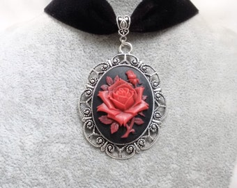 Necklace - Choker -  Rose Choker Necklace -  Velvet Choker - Gothic Necklace - Victorian Necklace -
