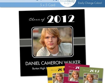5x5 Graduation Announcement (Daniel) Photoshop Template for Photographers