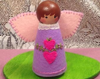 Purple Valentine Fairy Peg Doll