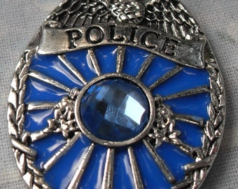 Police Badge Pendant with Blue Crystal on Silver Serpentine Chain Donating Made to Police Charity with Each Purchase