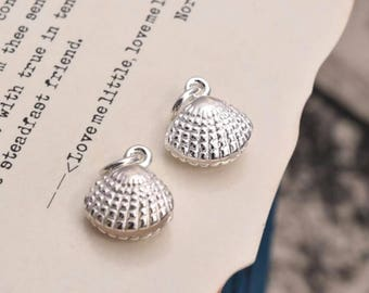 2 pcs sterling silver shell charm pendant