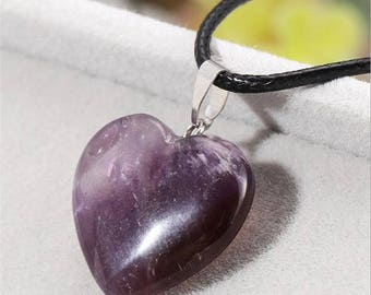 Amethyst heart pendant leather necklace