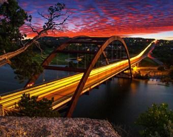 Pennybacker Bridge Sunset Photography, Austin TX, 360 Bridge