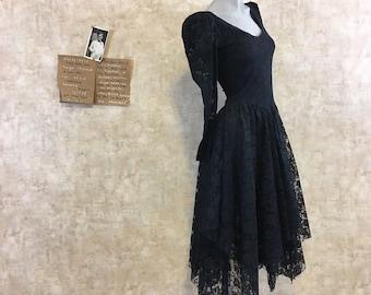 Vintage 80s Black Lace Hankerchief Hem Dress Tea Length  small