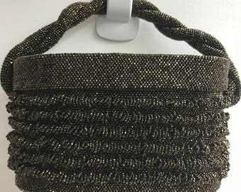Vintage 1950s Hand Beaded Purse in Brown Metallic Beads