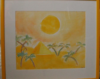 Egyptian Summer professionally framed original watercolor painting. Landscape watercolor. Yellow Painting. Yellow framed art.Palm Trees
