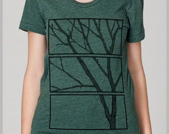 Women's Unique T Shirt Tree Print Nature Design American Apparel Scoop Eco Friendly Tee