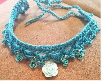 Turquoise Crocheted Choker