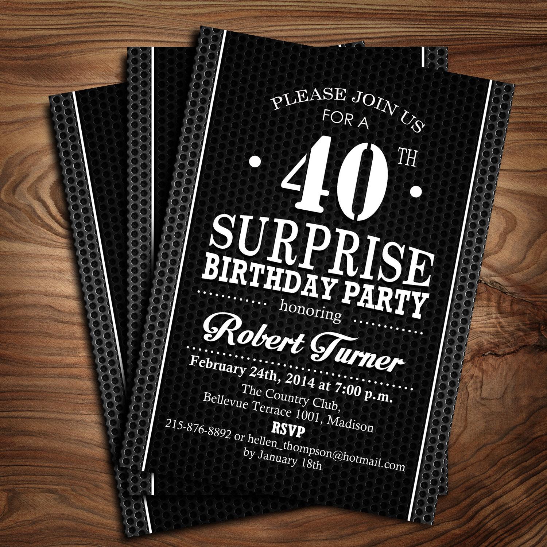 Surprise 40th Birthday Invitation / 30th / 50th/ 60th / 70th /