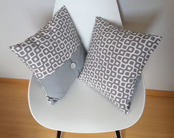 Pillow cover with geometric gray and light beige, ideal for a modern twist