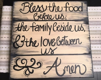 Canvas Kitchen Art Dinner Blessings Rustic Wooden Bless the food before us