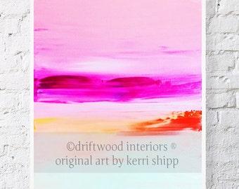 "Abstract Watercolor Print - Calypso 8"" x 10"" - Abstract Art Giclee - Watercolor Print - Pink and Orange Giclee Print - Abstract Watercolor"