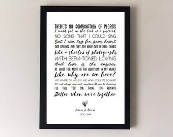 Better together, song lyrics print, wedding song, first dance, anniversary gifts, wedding gift, gift for husband gift for wife