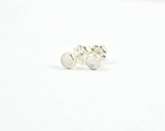 Small Moonstone Studs, Rainbow Moonstone Posts, Small Earrings, White Studs, Gemstone Studs, 4mm earring posts, Earring Studs