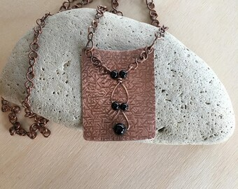 Women's necklace - Copper - Black Onyx - Link necklace - 22 inch - Statement necklace