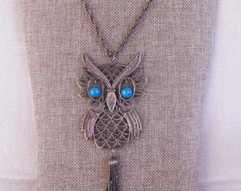 Large 1970's Filigree Owl Necklace, Vintage Brass and Howlite Necklace, Vintage Brass Owl Necklace, Vintage Jewelry, Vintage Necklace