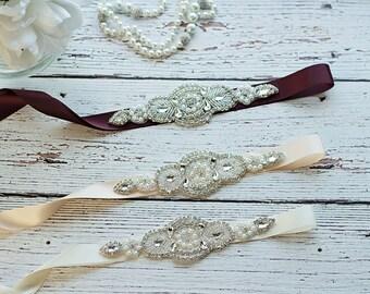 Bridal Sash..Burgundy Flower Sash / Belt -Flower Girl Sash..Champagne Sash/ Bridal Belt/ Ivory Sash..Maternity Sash / Wedding Sash