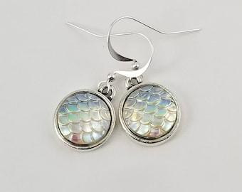 Mermaid Scale Earrings, Mermaid Earrings, Iridescent Scale Earrings,  Mermaid Jewelry, Beach Earrings, Summer Earrings