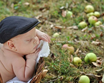 Baby hat, baby newsboy hat, charcoal gray baby flat cap, newborn photo prop, baby photography prop, newborn hat - made to order