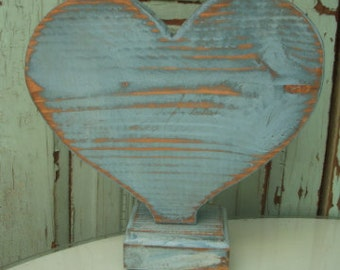 Distressed Wooden Heart, Handmade, Reclaimed Wood Rustic Hearts, Gifts for Women, Home Decor Farmhouse, Honeystreasures, Heart on a Stand