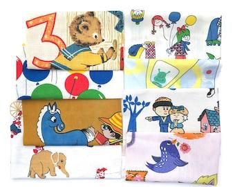 Vintage Fabric Scrap Bundle, 50s 60s 70s, Fabric Scrap Pack, Remnants, novelty fabri , childrens fabric, nursery, juvenile fabric