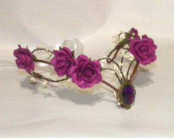 Circlet Fairy Woodland Purple Flower Headband Elven Medieval Tiara Renaissance Costume Crown Bride Bridal Wedding Head Piece Silver