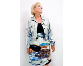 Silk Short Skirt + Jacket Luxurious Dupioni silk skirt short flair raw silk Size 8 pale green satin size M designer elegant fishes ornament