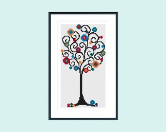 Cross stitch pattern, modern cross stitch pattern, instant download, spiral tree