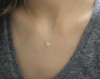 14K Mini Delicate Diamond and Gold Flower