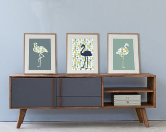 Set of 3 posters with flamingo and scandinavian trend, design lounge nordic, trend wall art, art print, wall decor