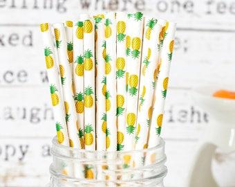 Yellow Pineapple Paper Straws, Beautiful Straws for Wedding or Birthday Celebration, Heart Straws, yellow, Paper Straws, Wedding Straws
