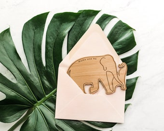 Mama and Me Elephant Shape Card - Happy Mother's Day, Laser Cut Wood Card