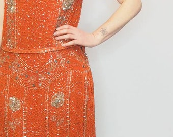 DECO 1920S DRESS -  Flapper Dress - original 1920s Dress - Antique Dress - Glass beaded flapper dress - Art Deco - 20s - Sheer - Vintage
