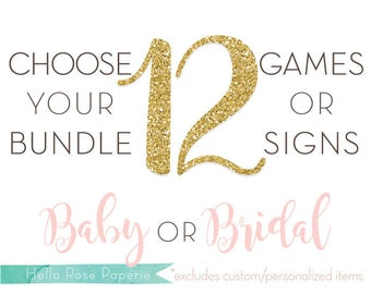 Choose Any 12 Games or Signs in my Shop! Baby Shower OR Bridal Shower Games and Signs *Sorry, Custom Games / Personalized Signs NOT INCLUDED