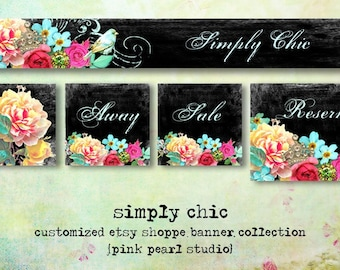 Etsy Shop Set Simply Chic - Shabby Aqua / Black Antique - Includes Banner, Avatar, Reserved Listing, Away and Sale Images