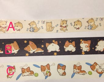 Corgi Shiba Inu dog washi tape sample