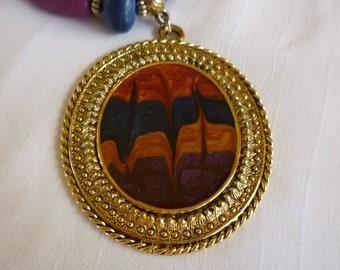 Lady Remington Colored Wood Bead Pendant Necklace