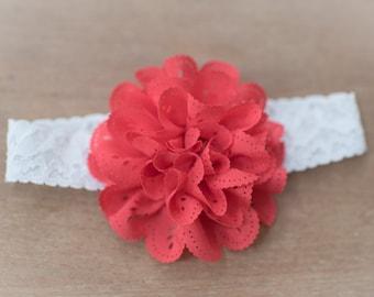 Newborn Headbands, Baby Headbands, Cherry Red Headbands, Baby Flower Headband, Flower Headbands, Photography Props