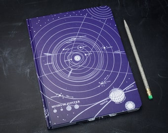 Solar System Hardcover Journal | Sketchbook Blank & Lined Recycled Paper Notebook Astronomy Stars Planet Science Star Chart Astronomer Gift
