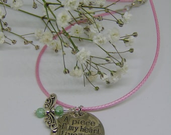 """Metal stamped necklace """"A piece of my heart lives in heaven"""", with angel charm"""
